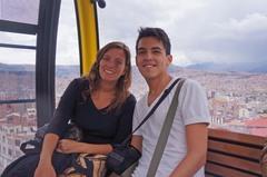 Rocío y yo en el teleférico de La Paz, rumbo a El Alto