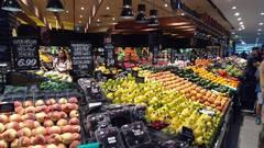 Verduras y frutas en un shopping de Brisbane