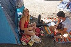 Relajándonos en el camping de Cafayate