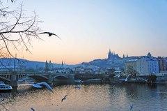 Vista del oeste de Praga desde el río Moldava
