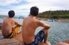 Joaquín y yo disfrutando del agua del Cabra Corral