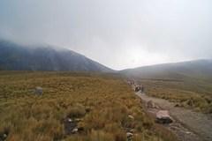 Sendero de ascenso al cráter, con la niebla en camino