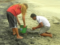 Voluntarios de Equilibrio Azul trabajando