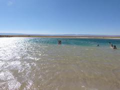 Turistas flotando En Laguna Cejar