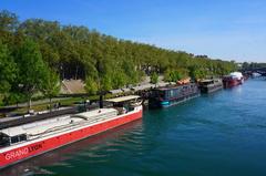 Botes-bar sobre el río Ródano, Lyon