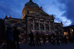 Show de luces en el Palacio Federal de Berna