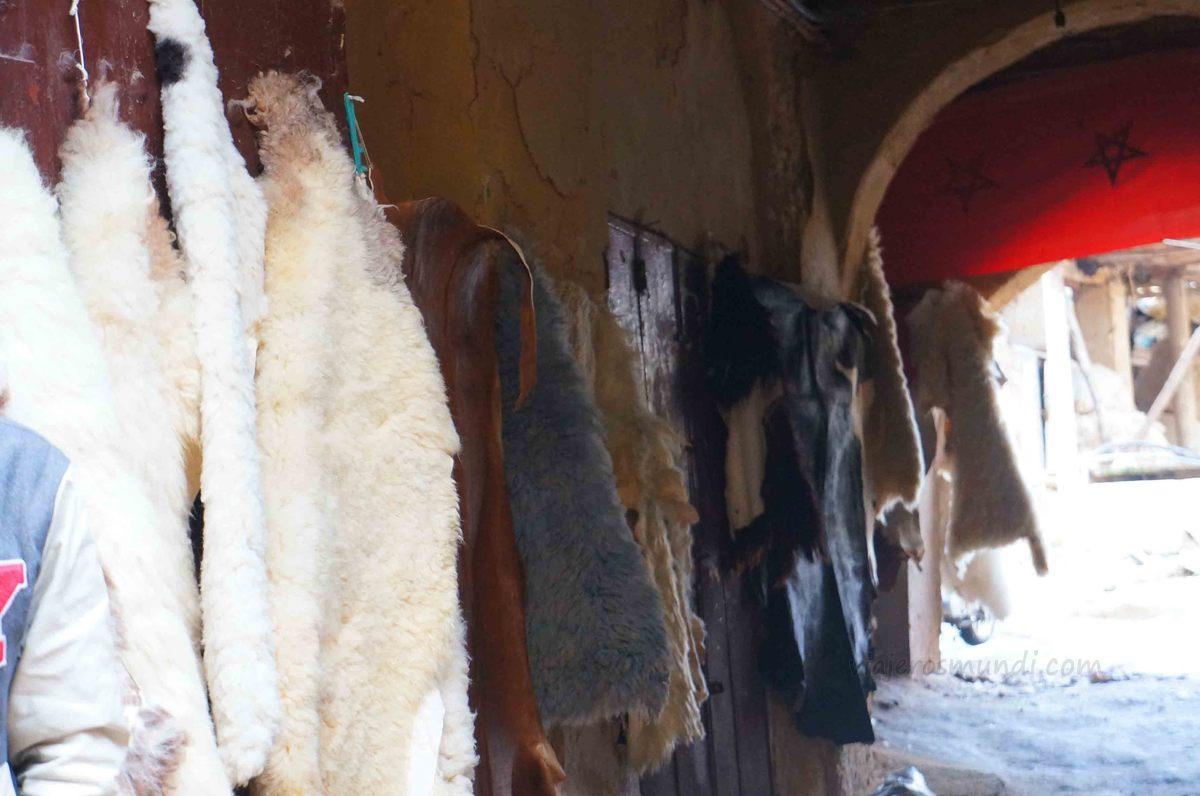 Venta de lana de camello en la medina de Fez, Marruecos