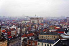 Vista de Bruselas en un día lluvioso