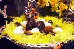Huevos de pascua de chocolate en Brujas