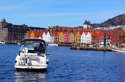 Vista de Bryggen en Bergen, Noruega