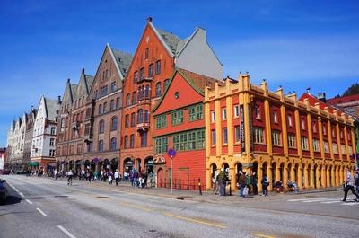 Calles del centro histórico de Bergen, Noruega