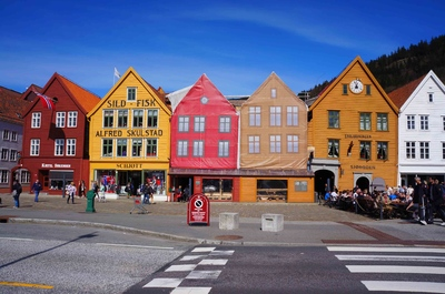 Casas de Bryggen en Bergen, Noruega