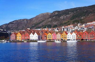 Vista de Bryggen en Bergen. Noruega