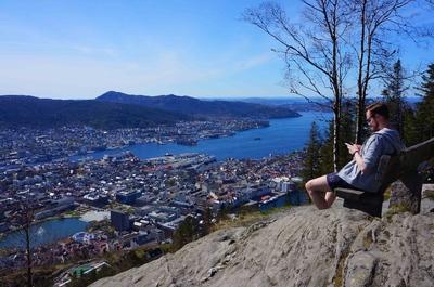 Vista de Bergen desde la colina de Fløyen