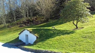 Casita típica en la Residencia de Gamlehaugen en Bergen. Noruega