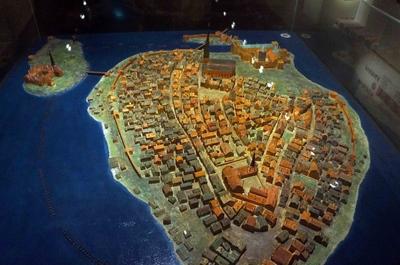Maqueta de la antigua Estocolmo en el Museo de Estocolmo Medieval