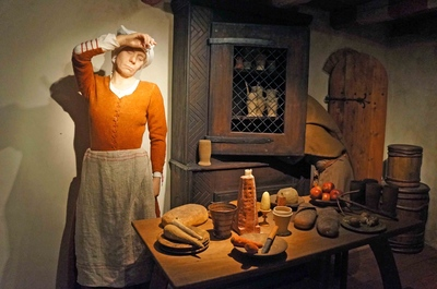 Escena de una carnicera en el Museo de Estocolmo Medieval