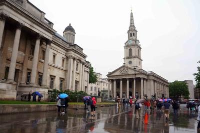 Calles de Londres bajo la lluvia