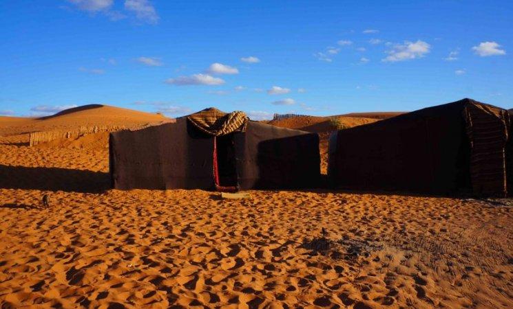 Campamento en el Sahara, Marruecos